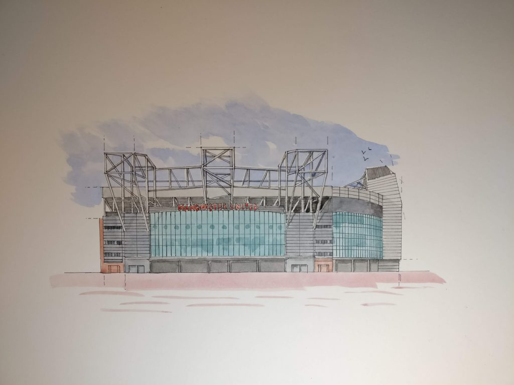 old trafford watercolour