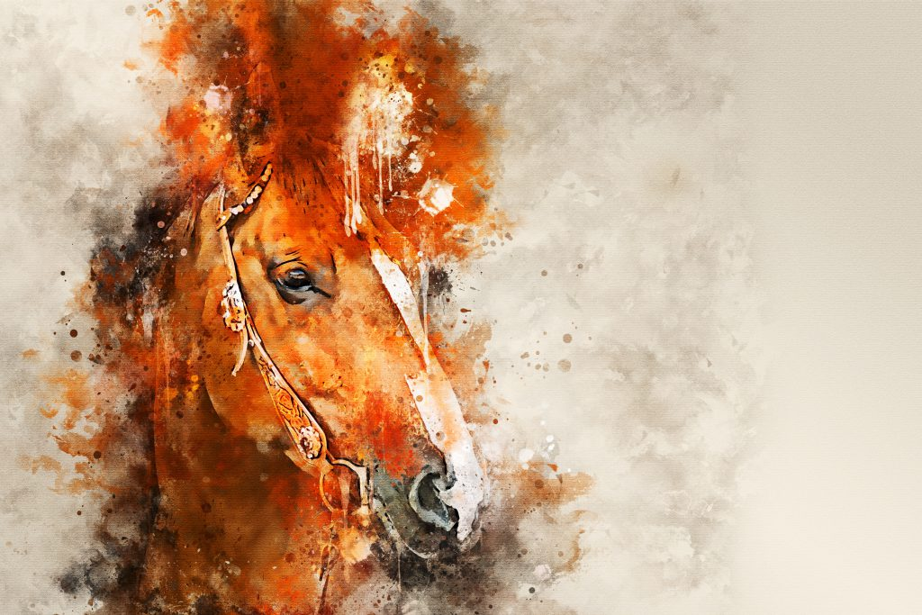 Horse Watercolour Effect Canvas Art Print Horse Abstract Art Colourful Horse Canvas Print Alan Hill Art